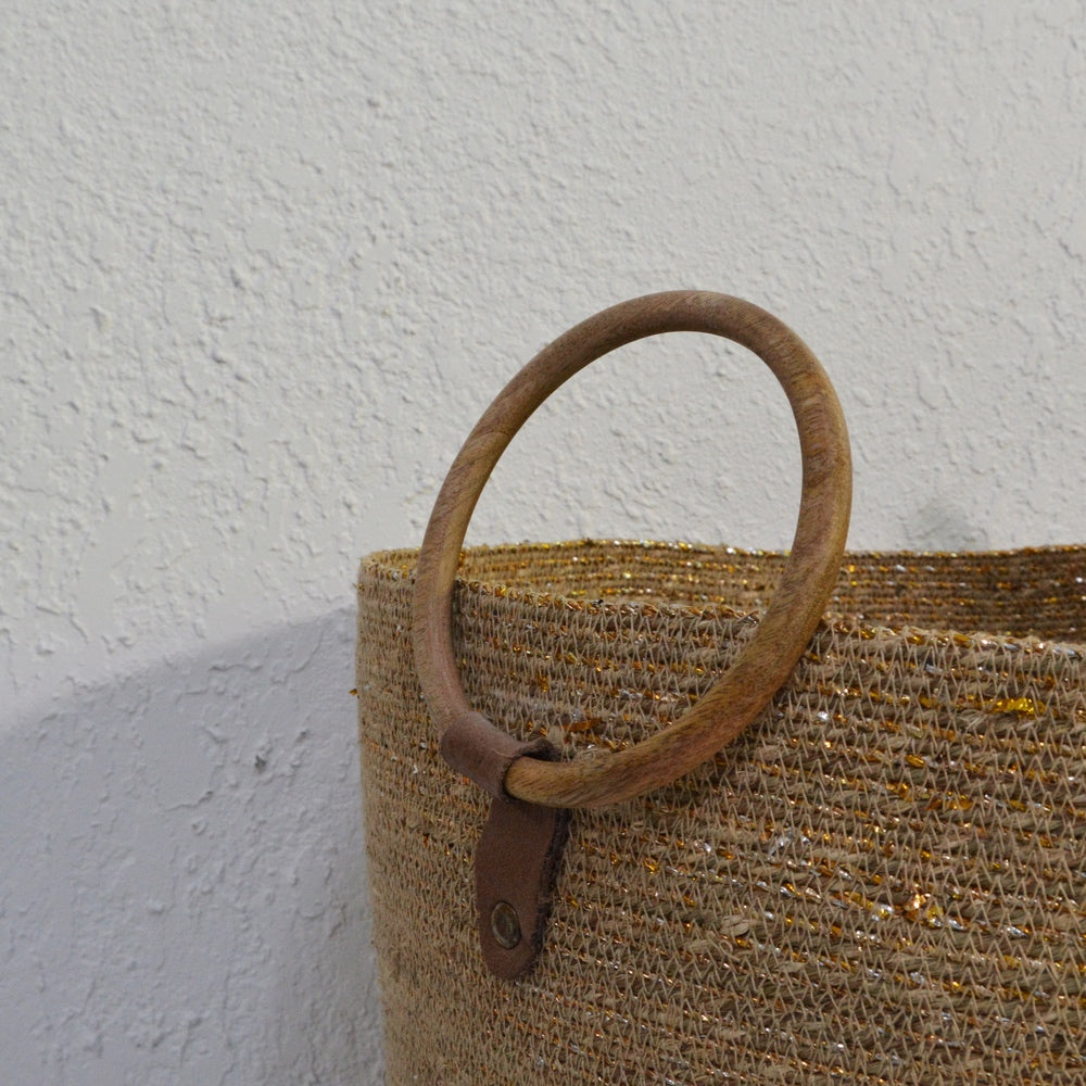 Hand Woven Laundry Basket Small