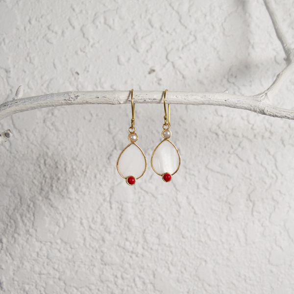 Hanging Mother of Pearl and Coral Earrings