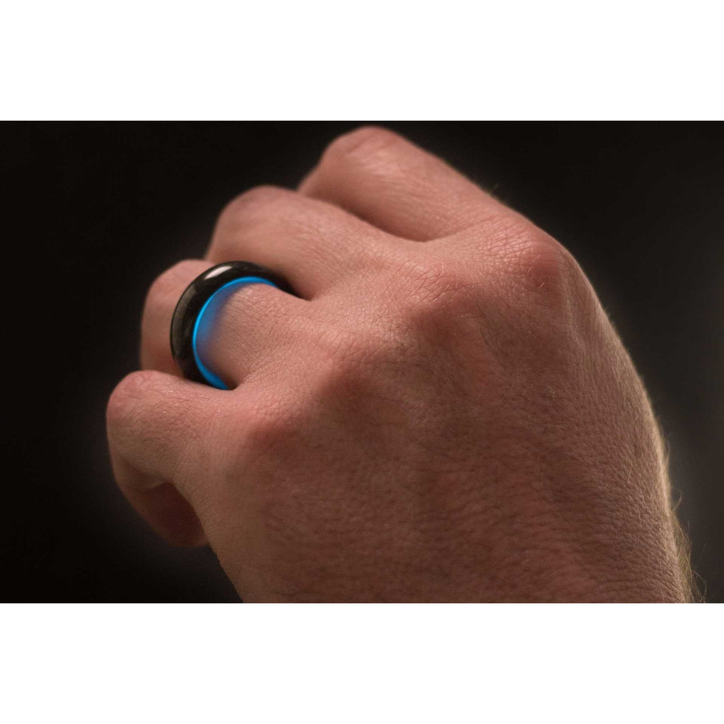 Mens Blue Glowing Carbon Fiber Ring Customer Action Shot