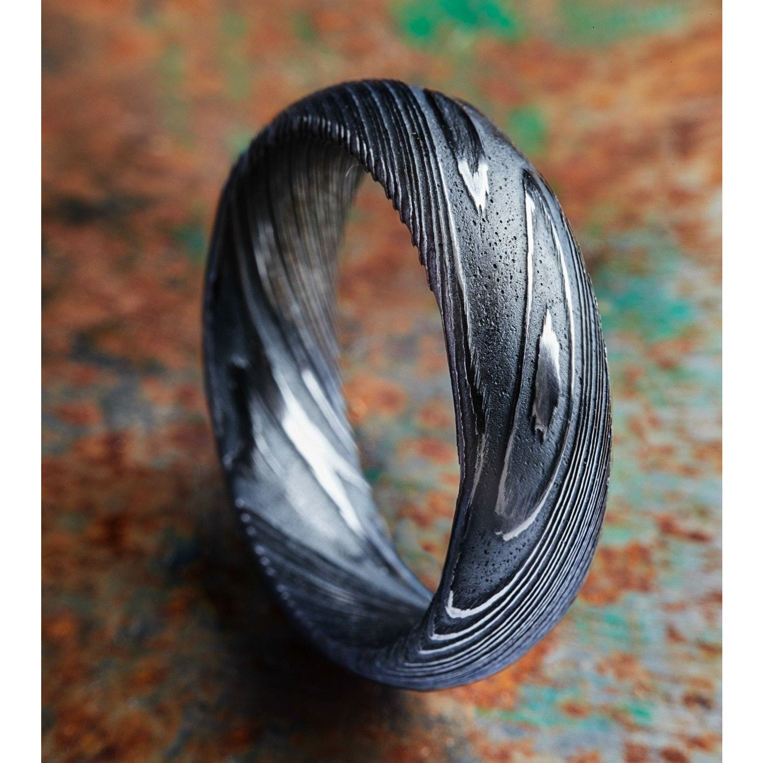 driftwood wood grain damascus steel ring mens wedding band - Damascus Wedding Ring