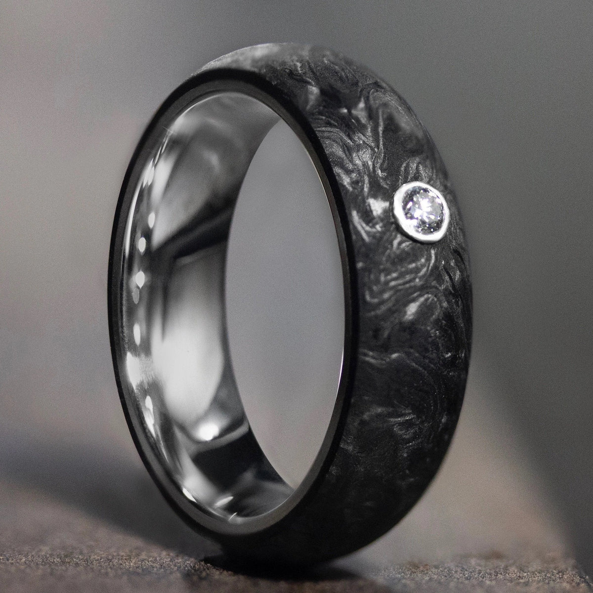 Carbon Gold Ring with Diamond Inset