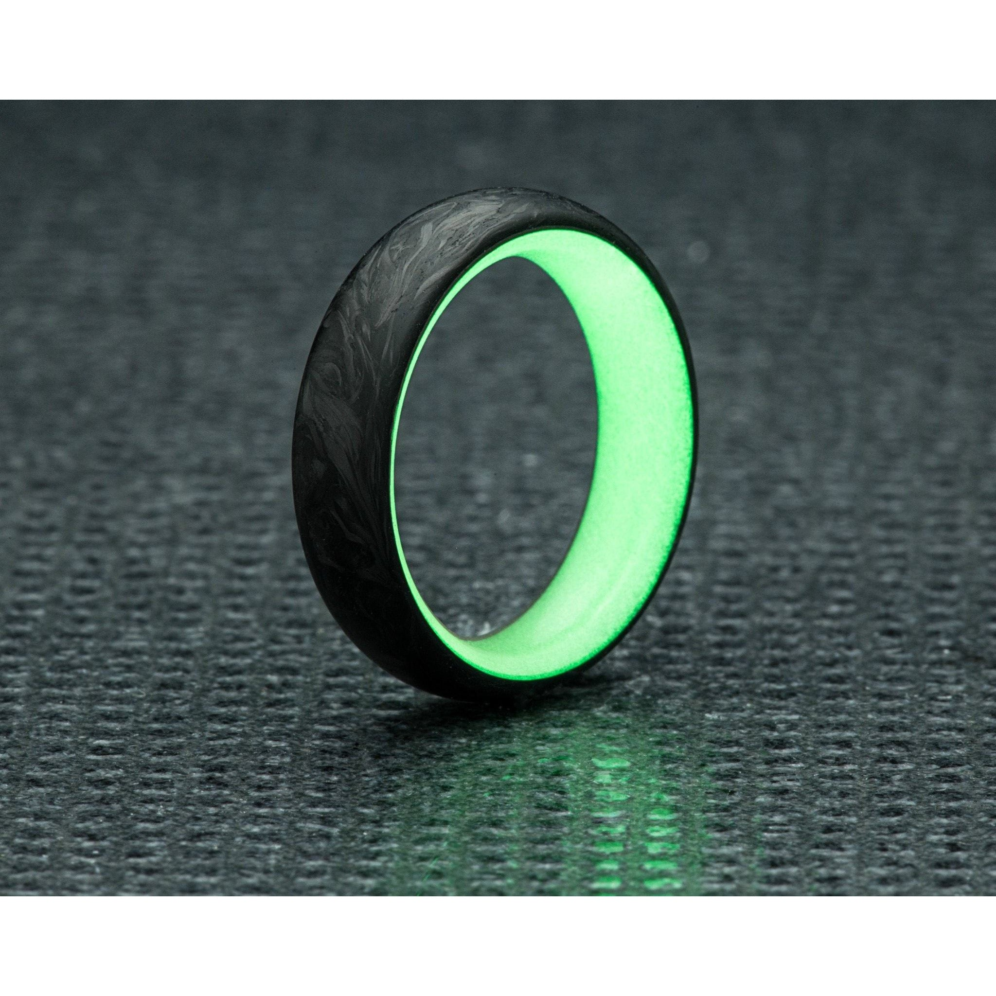 luminescent with fiber these made a pin rings ring carbon core red lume