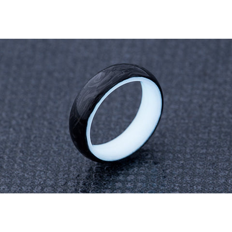 Radiant White Carbon Fiber Wedding Band for Engagement