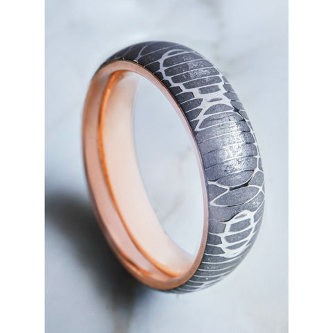 Python Damascus Steel with Solid 18 Ct. Rose Gold Interior