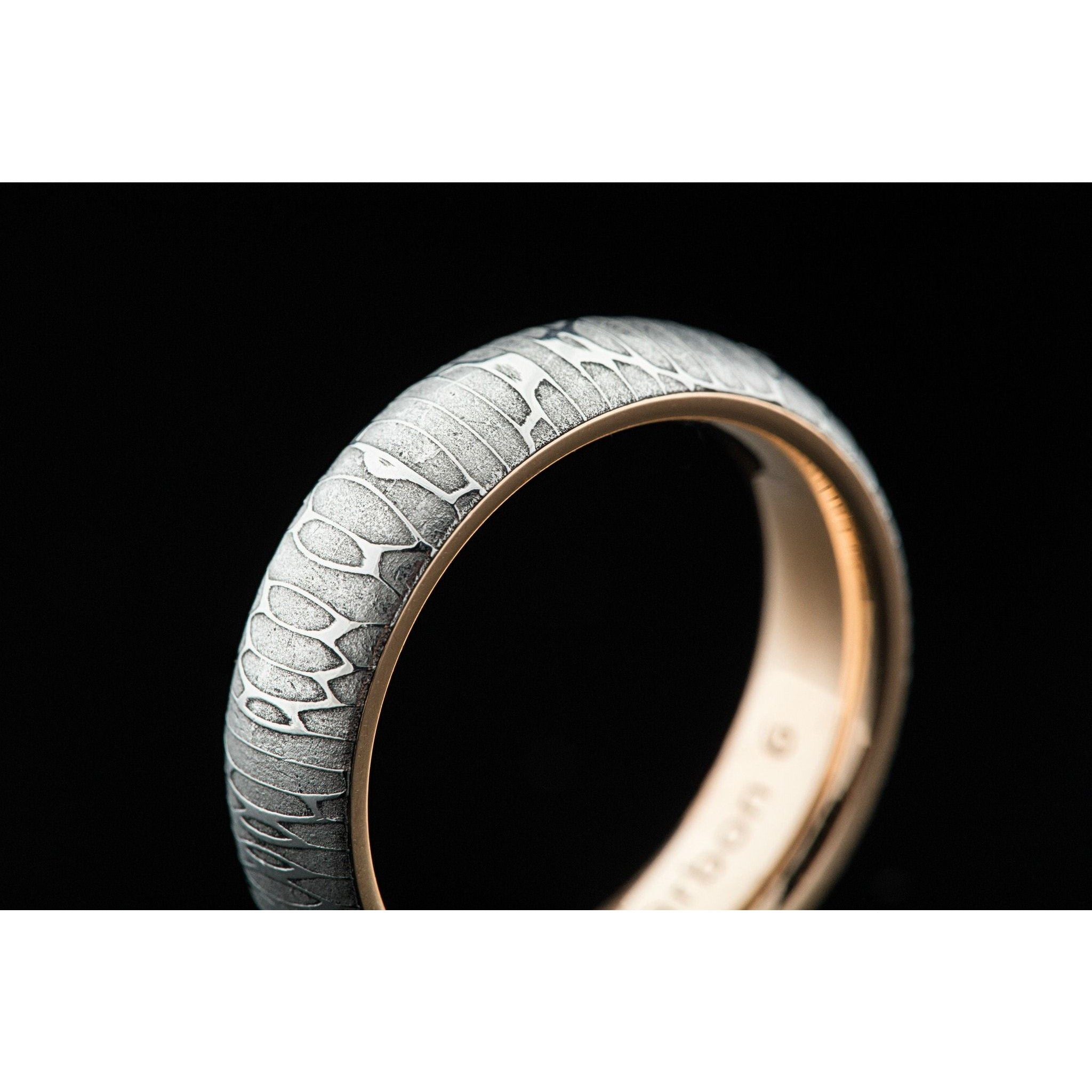 Wood Grain Damascus Steel Ring w Silver Interior Men s Wedding