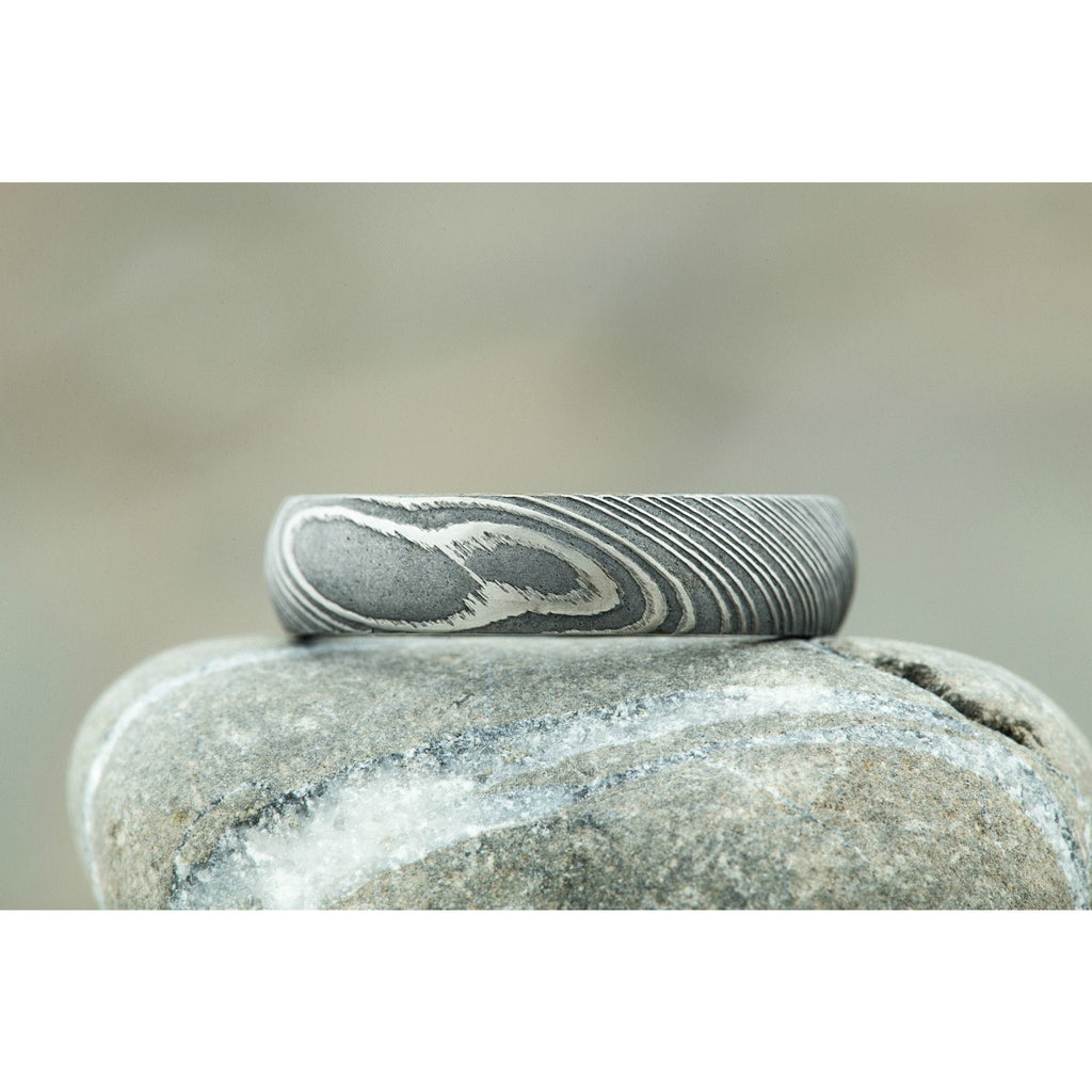 Driftwood Damascus Steel Ring