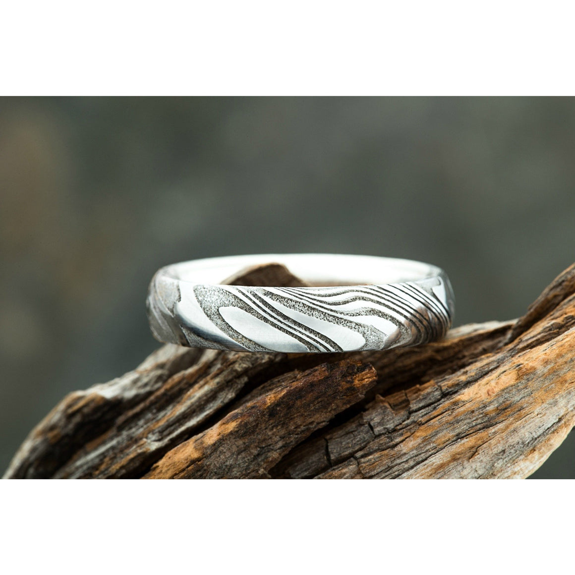 Wood Grain Damascus Steel Ring w/ Silver Interior by Carbon 6 Rings Woodgrain Men's Wedding Band