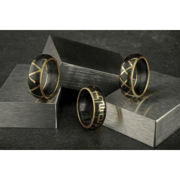 18 Karat Gold Forged Carbon Labyrinth Ring
