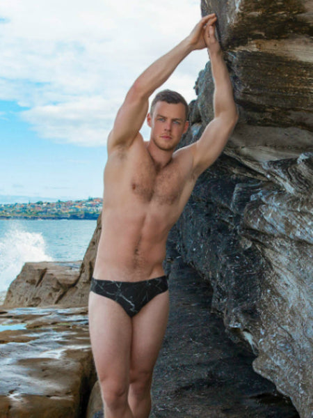 Black Marble Swim Brief
