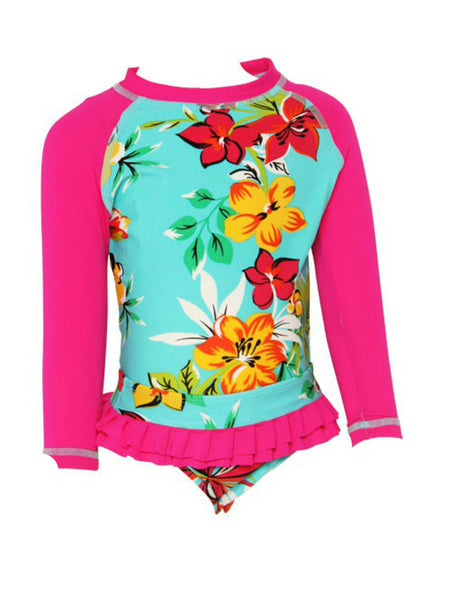 Heaven Lee Swimwear - Mädchen Rash Guard Set Aqua Lagoon