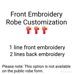 PRO Front Embroidery Robe Customization