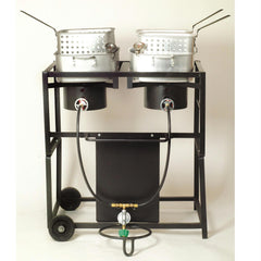 King Kooker #KKDFF30T- 30in Dual Outdoor Propane Frying Cart
