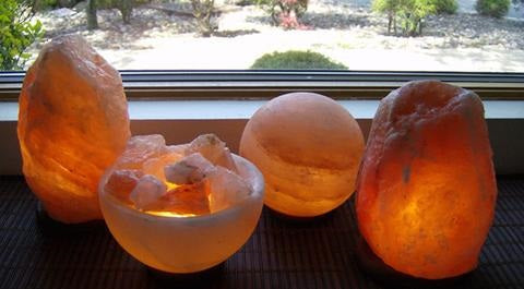 Different Sizes and colours of Salt Lamps as a Home Decoration