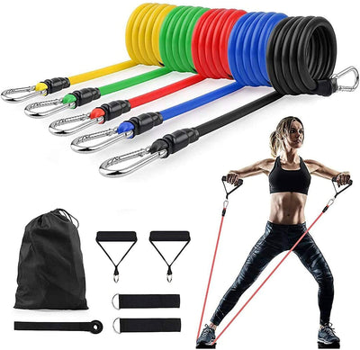 Resistance Exercise Bands Set Men Elastic Fitness Accessory Workout Home Gym Exercise Equipment With Handle For Legs, Butt And Glutes Pull Up Multicolored