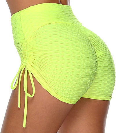 Booty Shorts for Women High Waist Yoga Gym Workout Shorts with Side Drawstring Ruched Textured Butt Lifting, Running, Cycling, Sports and Beach Booty Pants Short