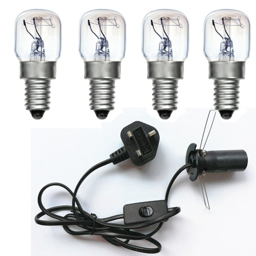 Salt Lamp replacement Power Cord Set UK with 4 bulb (Black with Button)