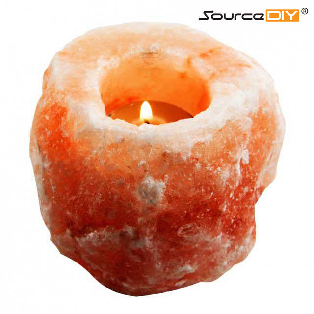 Pink Himalayan Salt Candle Holder, Rock Tea light Holder - SourceDIY