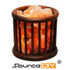 WOODEN BASKET HIMALAYAN CRYSTAL SALT LAMP - SourceDIY