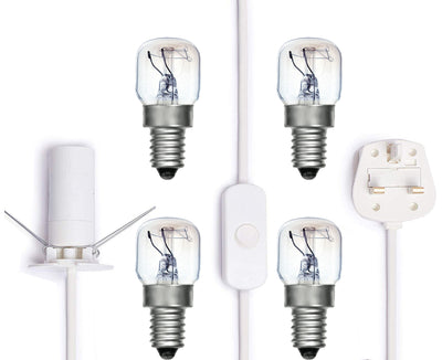 Salt Lamp replacement Bundle Cord set with 4 bulbs (White with Button)
