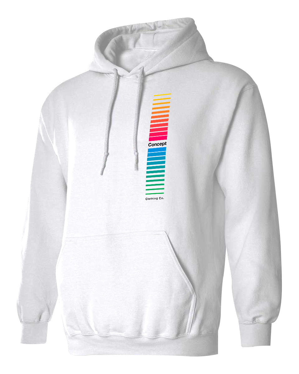 Multicolor Retro Stripes Hoodie | White