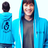 Blue Zip Up Wearing Is Caring Hoodie