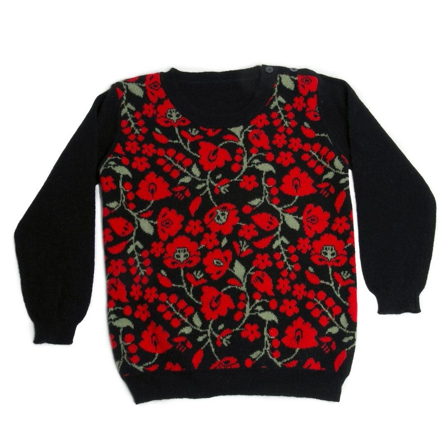 Kids Cashmere Crew Neck Sweater - Red Flowers
