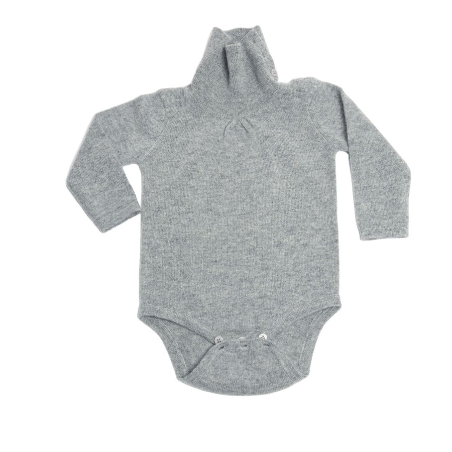 Cashmere Baby Bodysuit - Light Gray