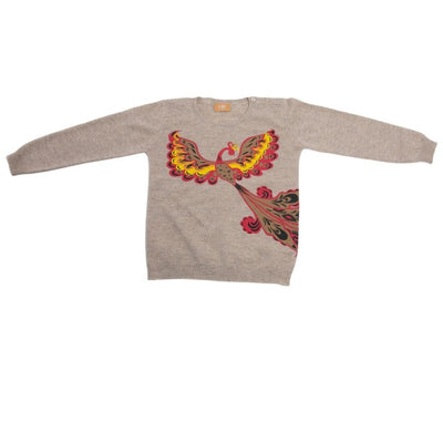 Kids Cashmere Crew Neck Sweater - Fire Bird