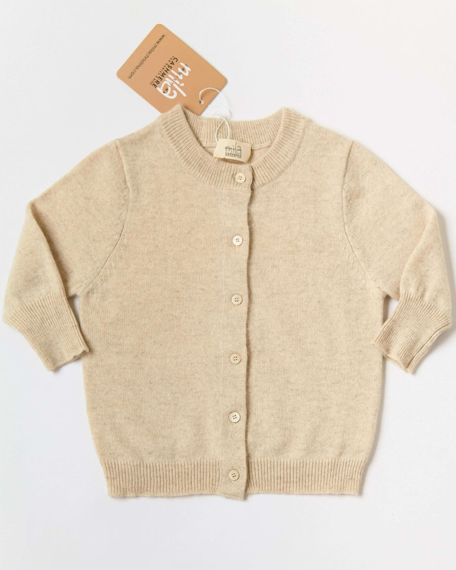 Cashmere Crew Neck Long Sleeve Baby Cardigan