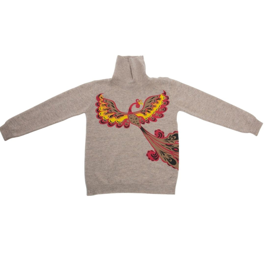 Kids Cashmere Turtleneck Sweater - Fire Bird