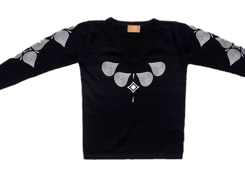 V Neck Long Sleeve - Black