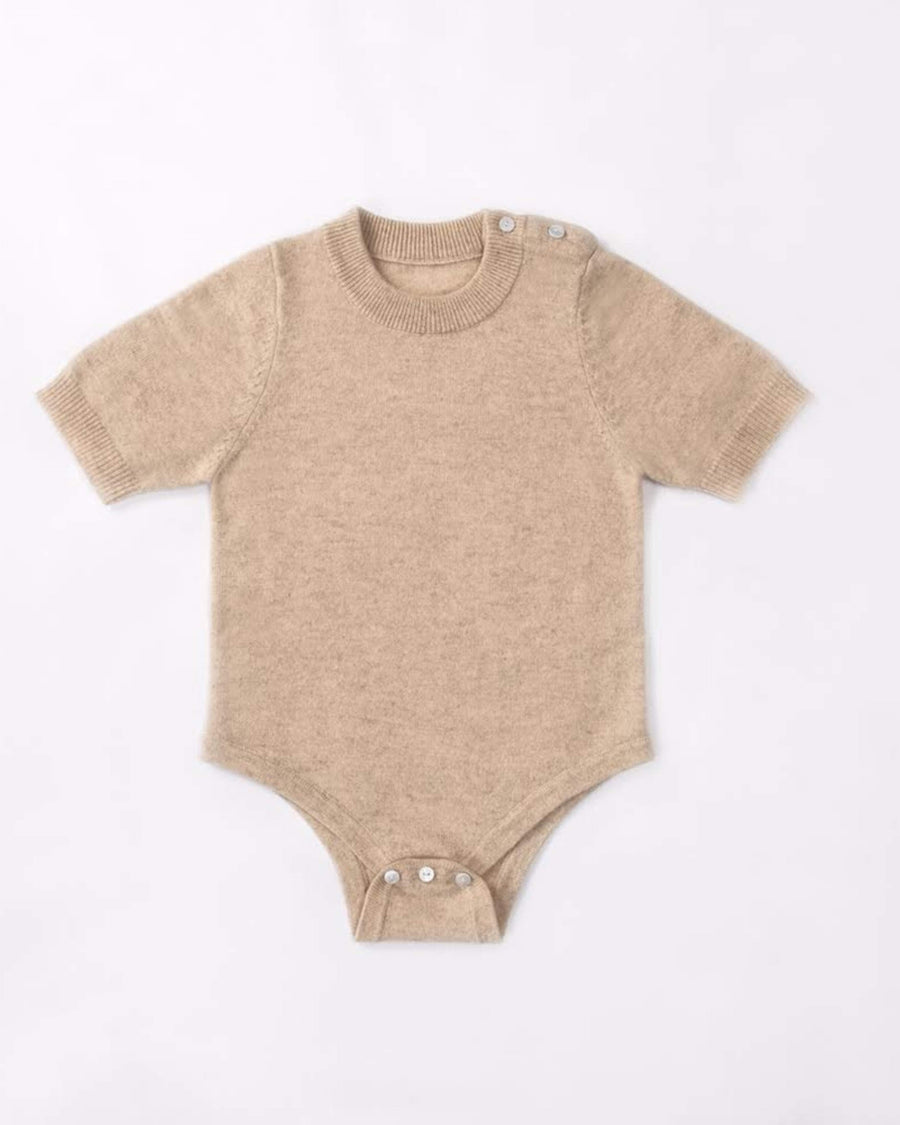 Cashmere Crew Neck Short Sleeve Baby Bodysuit