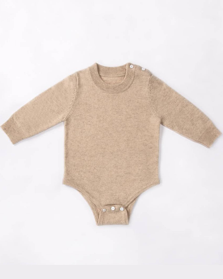 Cashmere Crew Neck Long Sleeve Baby Bodysuit