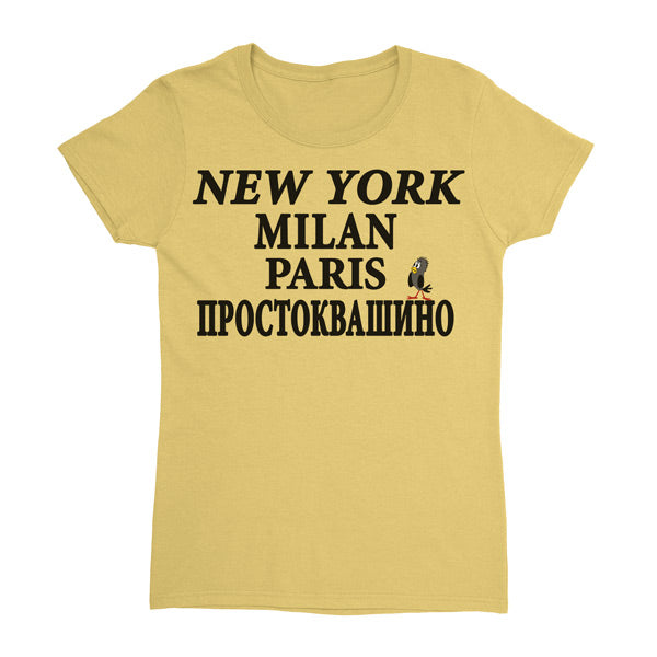 """NY MILAN PARIS"" Ladies' Cotton Tee"
