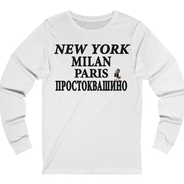 """NY Milan Paris"" Premium Long Sleeve Crewneck"