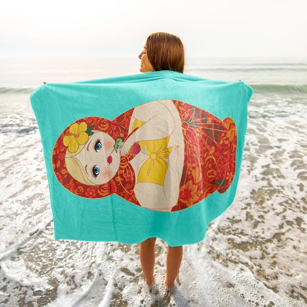 """Bikini Matryoshka"" Plush Oversized Beach Towel"