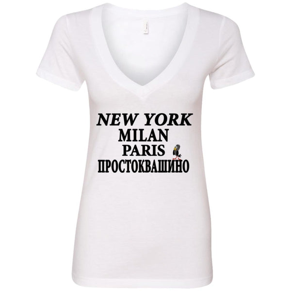 """NY Milan Paris"" Ladies'' Deep V-Neck Top"