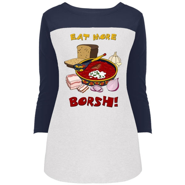 """Eat More Borsh!"" 3/4 Sleeve Sports Rally Top"