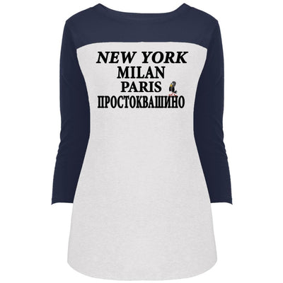 """NY Milan Paris"" 3/4 Sleeve Sports Rally Top"