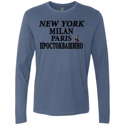 """NY Milan Paris"" Men's Premium Long Sleeve Tee"