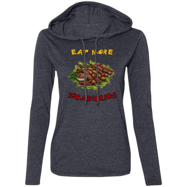 """Eat More Shashlik"" Ladies' Light Hooded Tee"