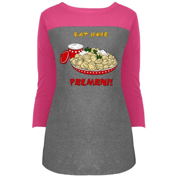 """Eat More Pelmeni"" 3/4 Sleeve Sports Rally Top"