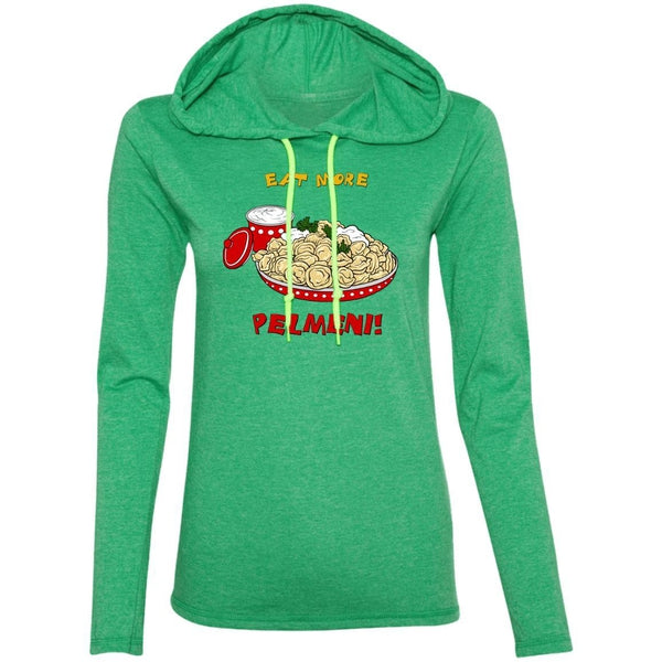 """Eat More Pelmeni"" Ladies' Light Hooded Tee"