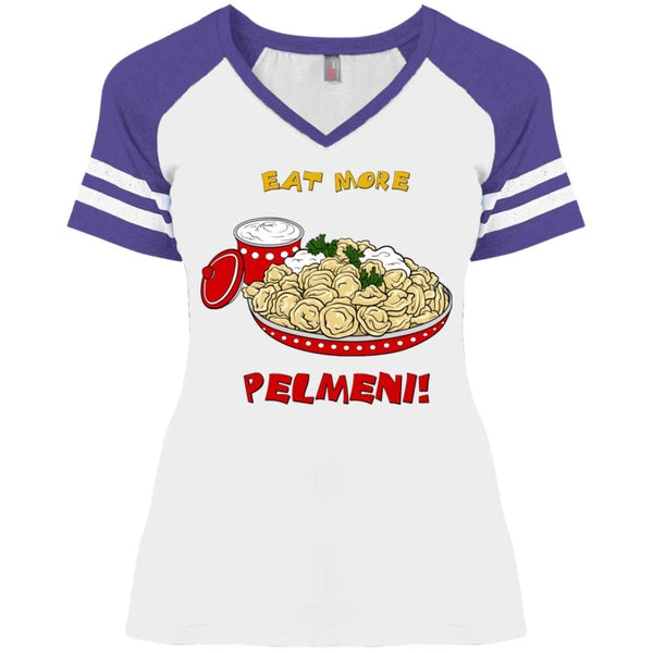 """Eat More Pelmeni"" Ladies' Game Day V-Neck"