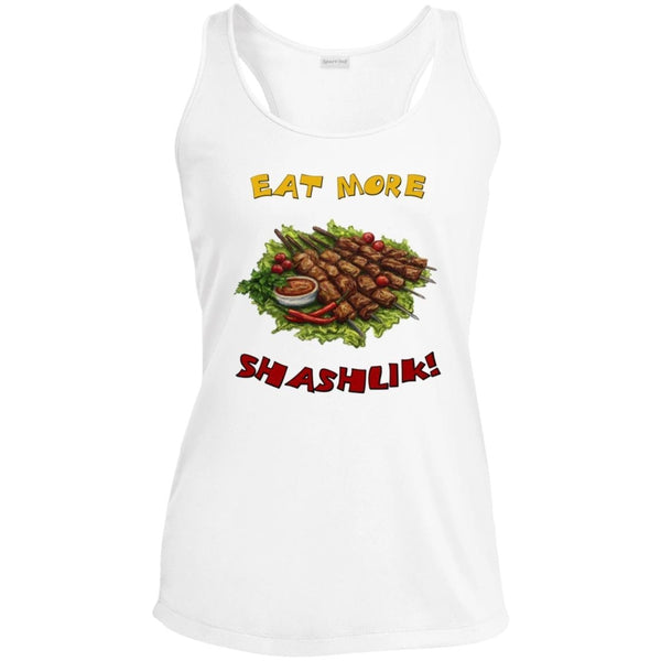 """Eat More Shashlik"" LADIES' SPORTS RACERBACK TANK"