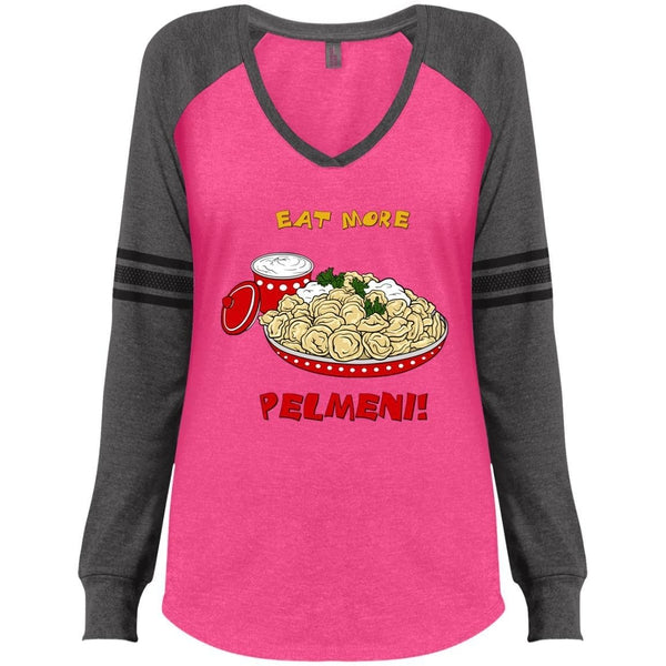 """Eat More Pelmeni"" Ladies' Game Day LS V-neck"