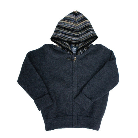 Kids Edition Merinosilk Stripe Trim Zip Hoodie