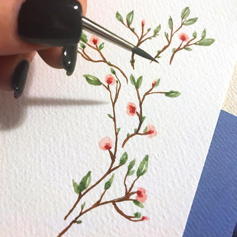 watercolor cherry blossom branch