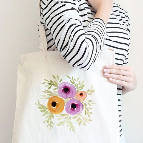 Spring Blooms Watercolor Floral Tote Bag