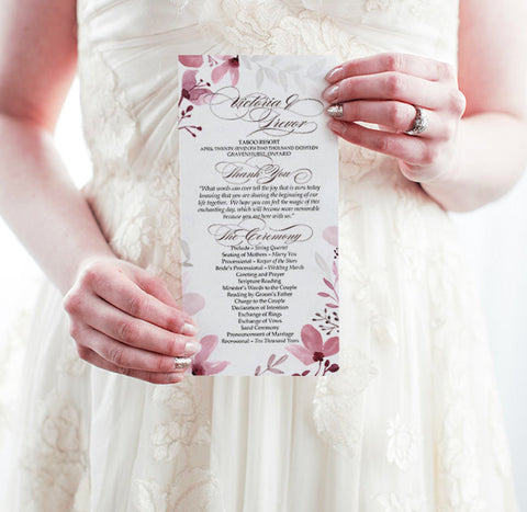 southern weddings rustic floral program